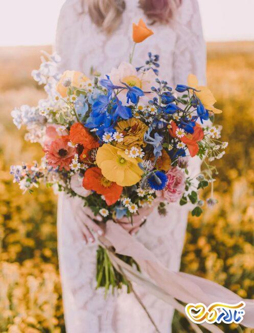 مفهوم گل مینا در دسته گل عروس
