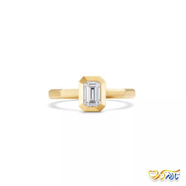 انگشتر نامزدی طلای زرد 18 عیار کوچک