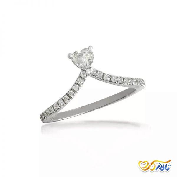 حلقه ازدواج الماس قلب