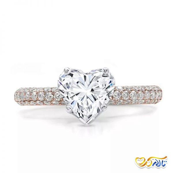 انگشتر عروسی جواهر به شکل قلب