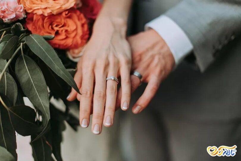 ضد عفونی حلقه عروسی طلا جواهر