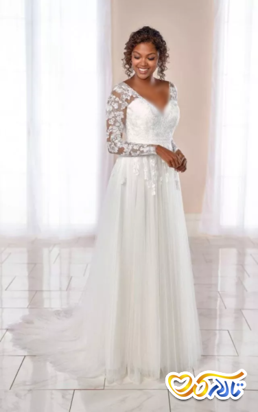 لباس عروس آستین تور دانتل گلدار