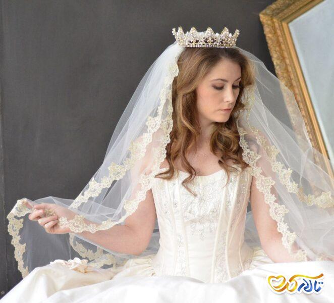 تور عروس حاشیه طلایی